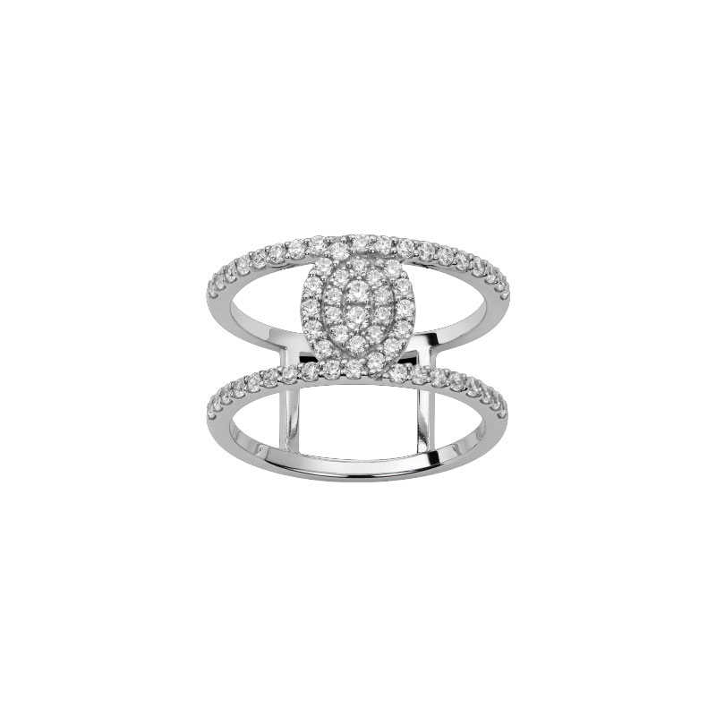 Bague or blanc et diamants - 22003046