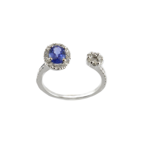 Bague or blanc, saphir et diamants – 12810 1