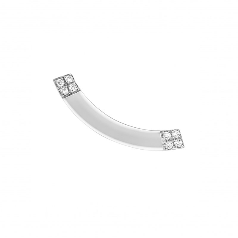 O-fée Boucle d'oreille barrette CARRE CHIC diamants or blanc (x1)